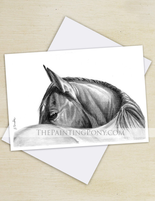 Graphite Horse Eye Art Equestrian Note Cards (10 pk)