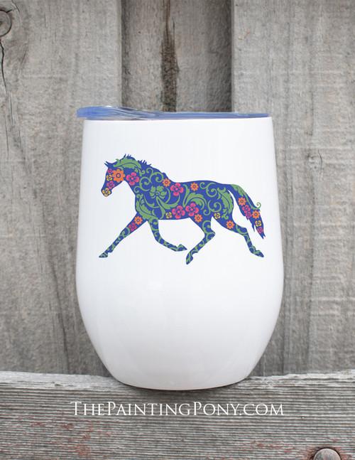 Trotting Floral Horse Lover Stemless Wine Tumbler