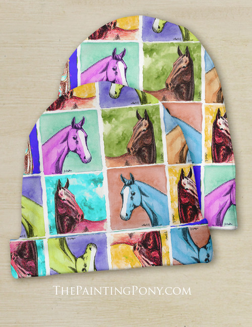 Colorful Horse Head Pattern Equestrian Baby Beanie Hat