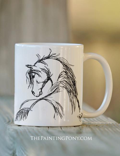 Horse Head Sketch Equestrian Coffee Mug