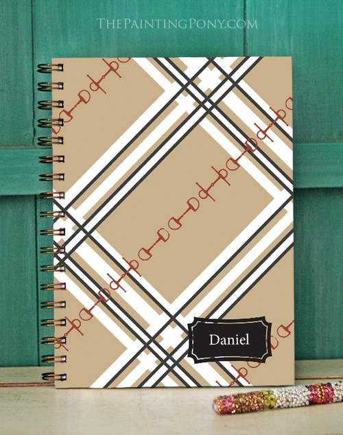 Plaid Horse Bit Pattern Equestrian Bullet Journal
