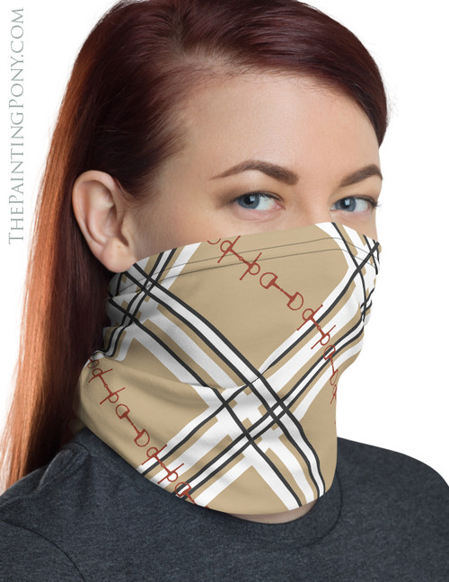 Plaid Horse Bit Pattern Equestrian Neck Gaiter