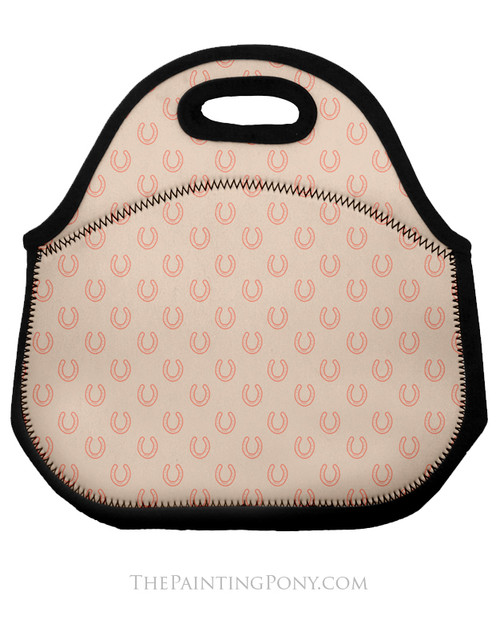 Horse Shoe Pattern Equestrian Lunch Tote Bag