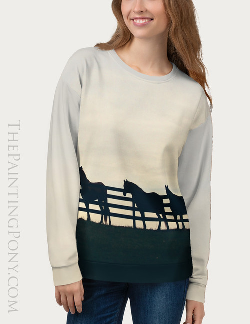 Horses At The Fence Bespoke Equestrian Sweatshirt