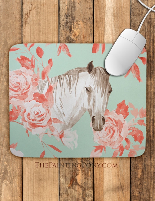 Floral Horse Head Art Mouse Pad