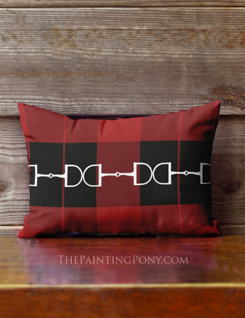 Festive Red Horse Bit Plaid Pattern Equestrian Accent Pillow