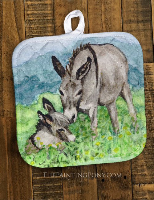 Donkey Mom and Foal Pot Holder