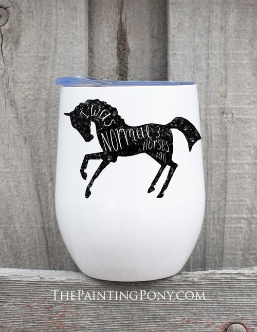 Normal Three Horses Ago Equestrian Stemless Wine Tumbler