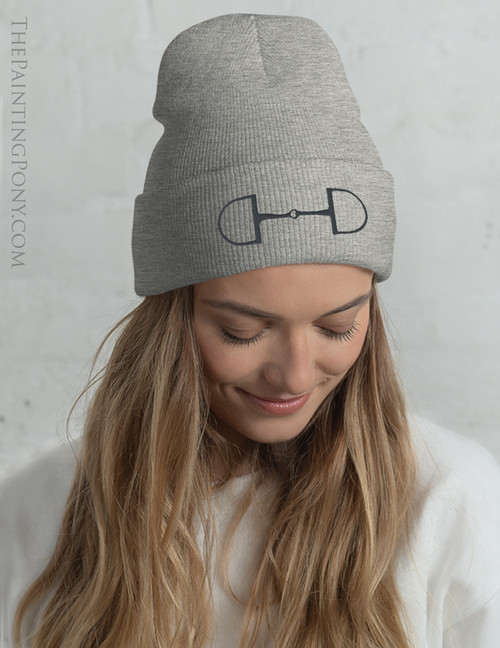 Classic Snaffle Horse Bit Embroidered Equestrian Beanie Hat