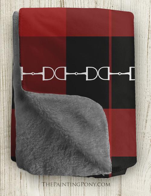 Festive Red Plaid Horse Bits Pattern Sherpa Fleece Throw Blanket