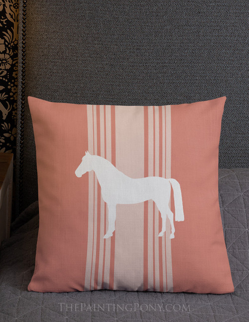 Coral Striped Horse Farmhouse Style Throw Pillow
