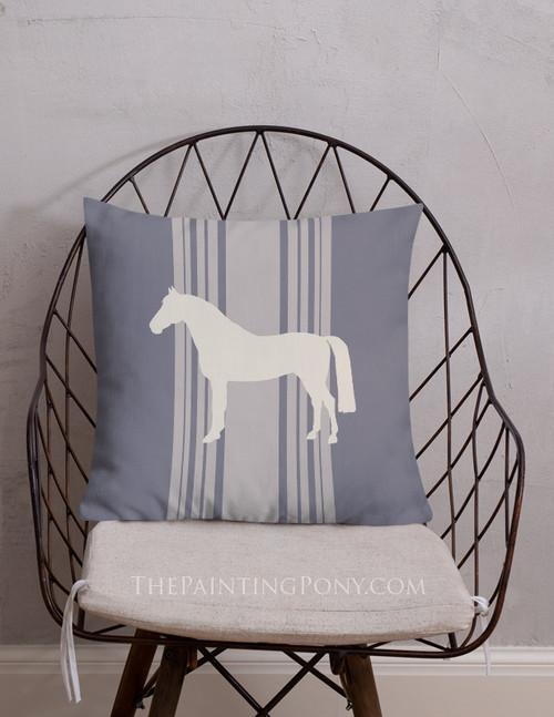 Striped Horse Farmhouse Style Throw Pillow
