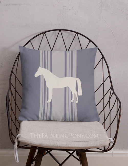 Striped Horse Farmhouse Style Throw Pillow