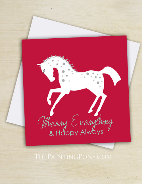 White Pony Equestrian Christmas Cards (10 pk)