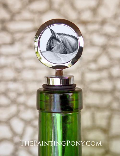 Classy Horse Eye Art Equestrian Wine Stopper