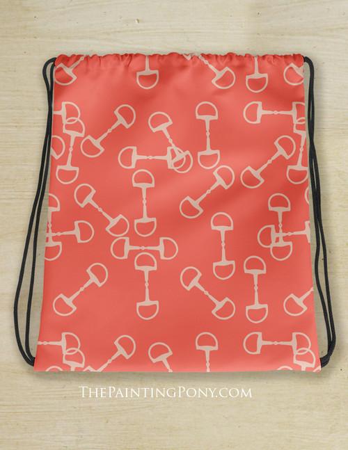 Coral Horse Bits Pattern Equestrian Drawstring Barn Tote Bag