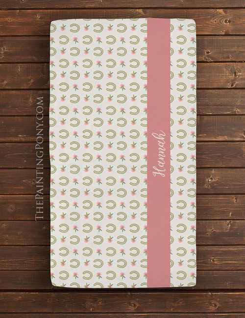 Clover Flowers and Horse Shoes Equestrian Baby Crib/Changing Pad Sheet