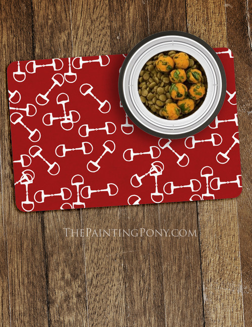 Horse Bit Pattern Equestrian Themed Pet Food Mat
