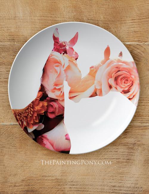 "Rose Horse Heads Equestrian 10"" Dinner Plate"