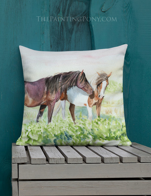 Chicoteague Island Wild Pony Throw Pillow