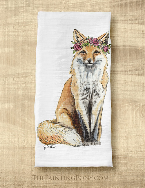 Mr & Mrs Bohemian Foxes Equestrian Tea Towel