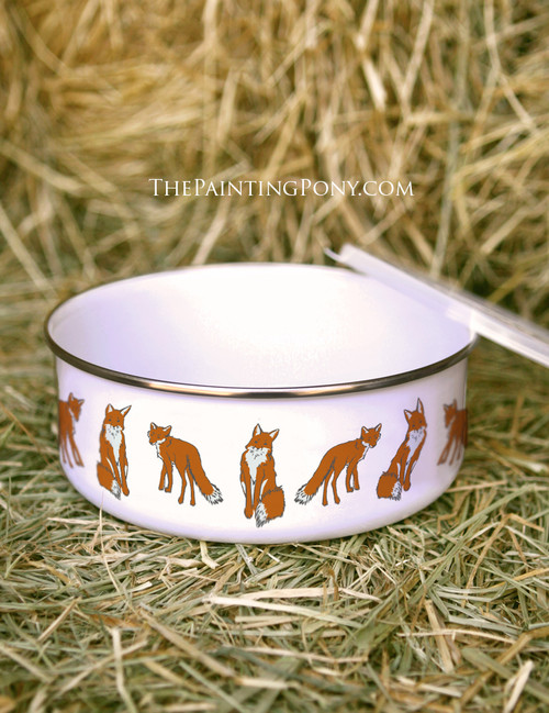 Cute Fox Pattern Enamel Bowl