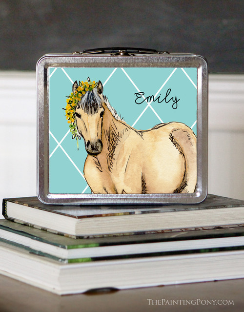 Buckskin Pony Personalized Equestrian Lunch Box