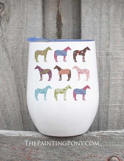 Fun Colorful Horses Pattern Equestrian Stemless Wine Tumbler