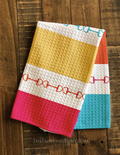 Colorful Striped Horse Bits Equestrian Waffle Weave Kitchen Towel