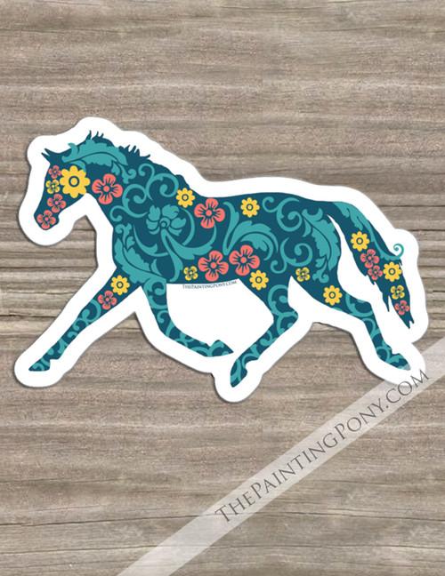 Trotting Floral Horse Equestrian Die-Cut Vinyl Sticker
