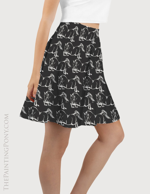 Jumping Horse Pattern Equestrian Flare Skirt
