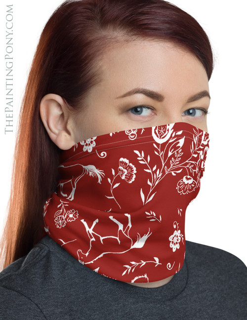 Country Floral Horse Lover Pattern Neck Gaiter (More Colors Available)