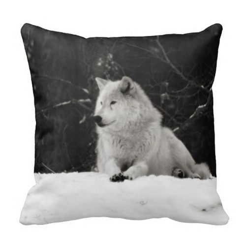 Winter Snow Wolf Square Pillow
