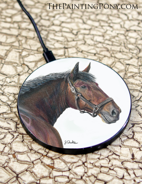 Cleveland Hay Horse Head Equestrian Art Wireless Charger