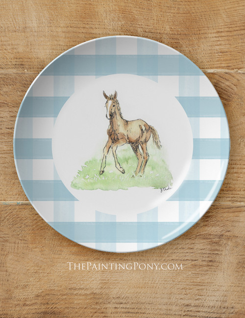 """Whimsical Easter Foals Equestrian 10"""" Dinner Plate"""