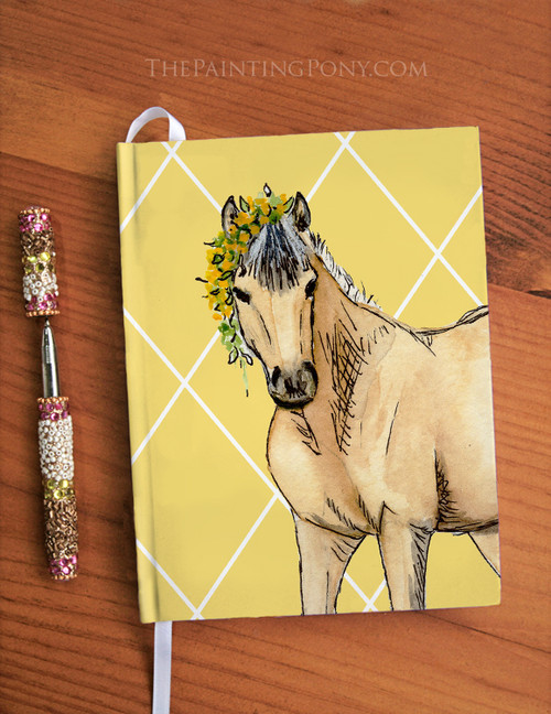 Cute Whimsical Buckskin Pony Equestrian Designer Hardbound Journal