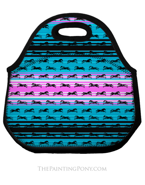 Serape Galloping Horses Pattern Equestrian Lunch Tote Bag