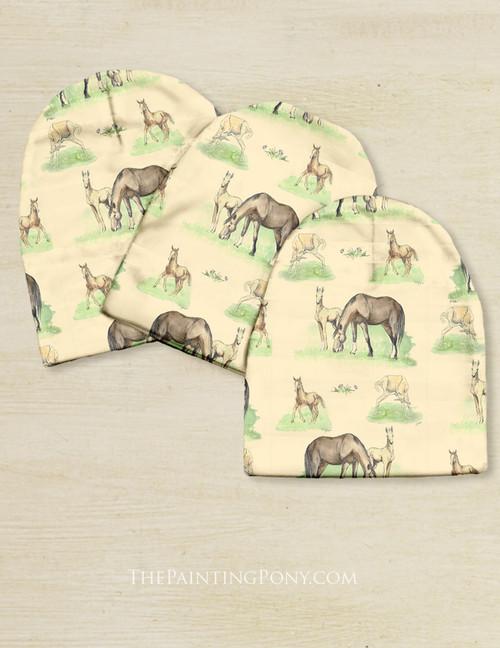 Horse Foals Pattern Equestrian Baby Beanie Hat