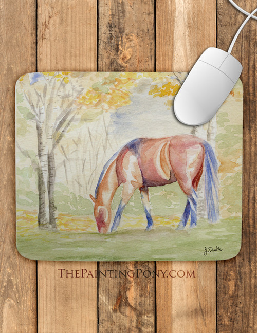 Fall Horse Watercolor Equestrian Art Mouse Pad