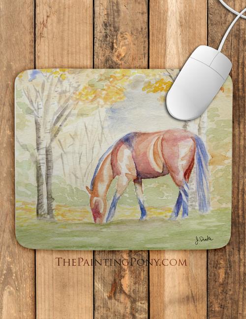 Fall Horse Watercolor Equestrian Art Mouse Pad