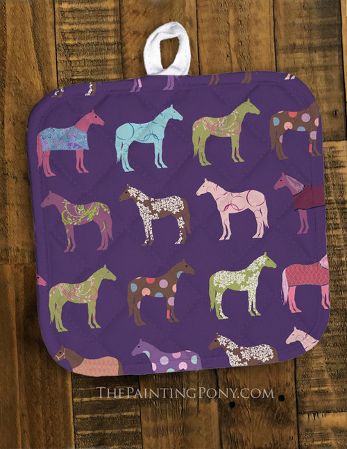 Fun Horse Pattern Equestrian Pot Holder