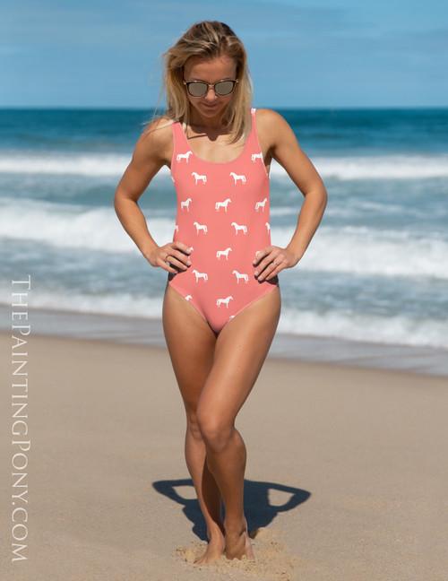 Coral Horse Pattern Equestrian Swim Suit
