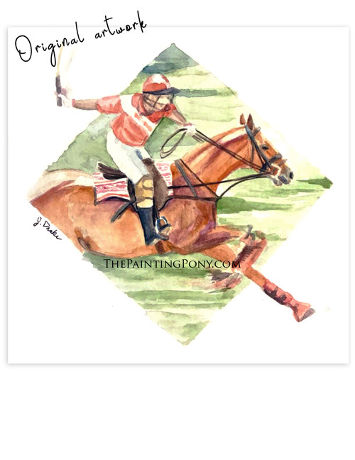 """Polo Horse"" Equestrian Watercolor Painting"