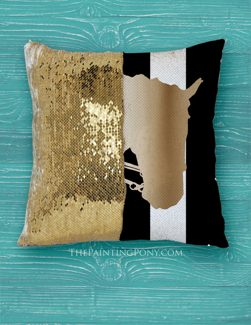Sequined Equestrian Throw Pillow Cover