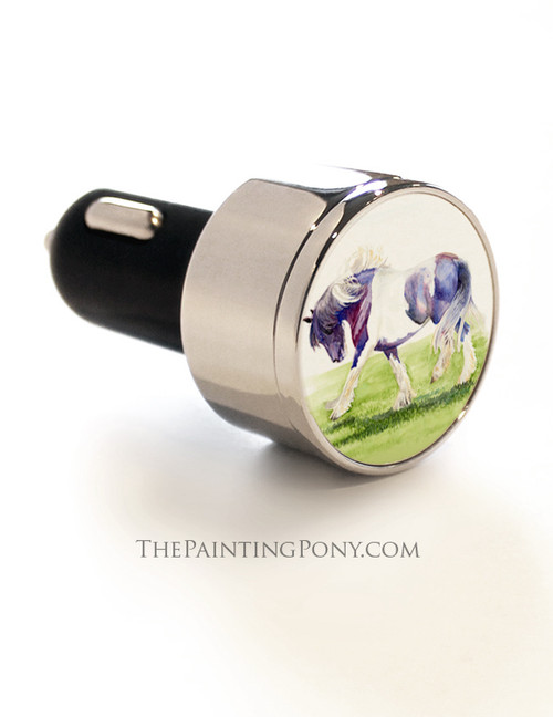 Gypsy Vanner Horse Art USB Car Charger
