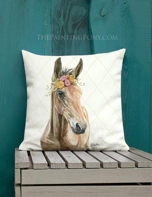 Bohemian Horse Head Art Equestrian Throw Pillow