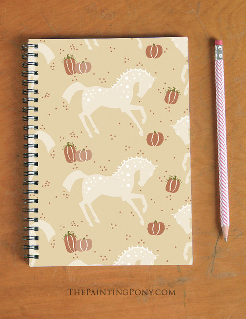 Fall Pumpkins and Ponies Spiral Notebook