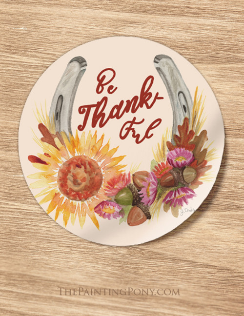 Fall Horse Shoe Be Thankful Equestrian Stickers
