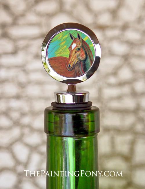 Chestnut Horse Head Art Equestrian Wine Stopper