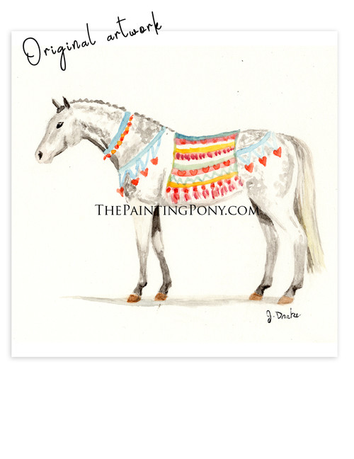 "SOLD Painting 3 out of 100  ""Welsh Pony"" Equestrian Watercolor Painting"